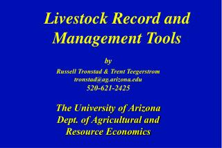 Livestock Record and Management Tools