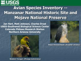 Avian Species Inventory -- Manzanar National Historic Site and Mojave National Preserve