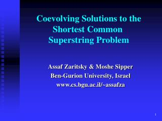 Coevolving Solutions to the Shortest Common  Superstring Problem
