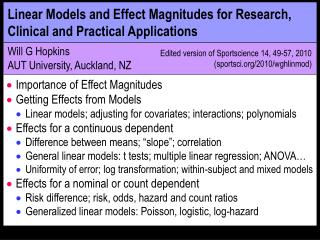Linear Models and Effect Magnitudes for Research, Clinical and Practical Applications