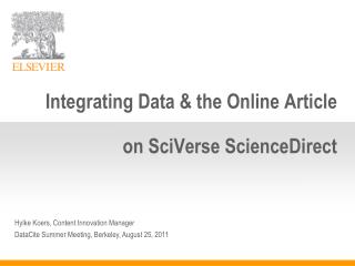Integrating Data & the Online Article  on  SciVerse ScienceDirect