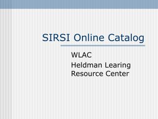 SIRSI Online Catalog