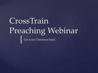 CrossTrain Preaching  W ebinar