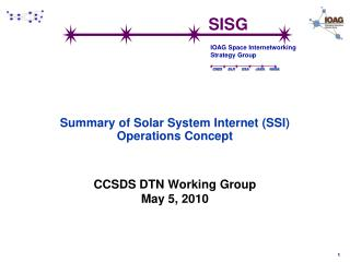 Summary of Solar System Internet (SSI) Operations Concept