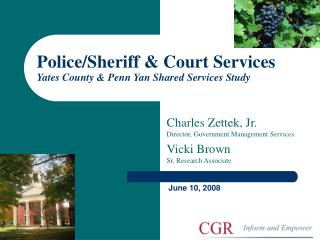 Police/Sheriff & Court Services Yates County & Penn Yan Shared Services Study