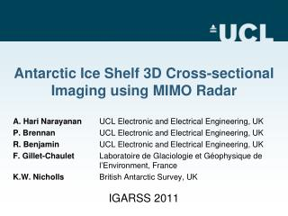 Antarctic Ice Shelf 3D Cross-sectional Imaging using MIMO Radar