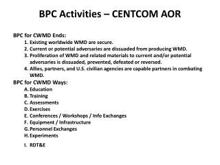 BPC Activities – CENTCOM AOR