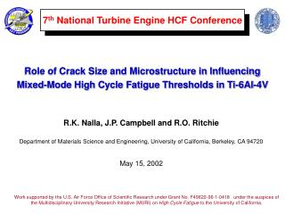 7 th  National Turbine Engine HCF Conference