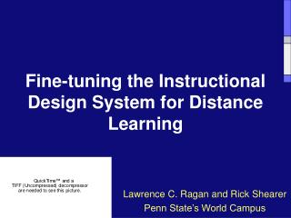 Fine-tuning the Instructional Design System for Distance Learning