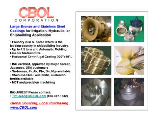 Large Bronze and Stainless Steel Castings  for Irrigation, Hydraulic, or Shipbuilding Application