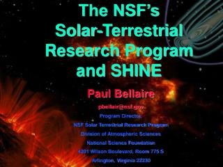 The NSF's Solar-Terrestrial Research Program and SHINE