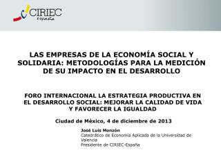 José Luis Monzón Catedrático de Economía Aplicada de la Universidad de Valencia