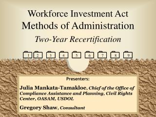 Workforce Investment Act Methods of Administration