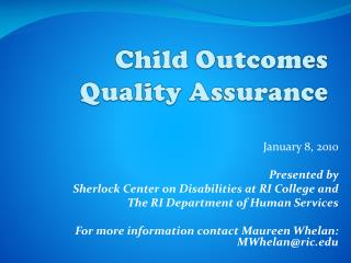 Child Outcomes Quality Assurance