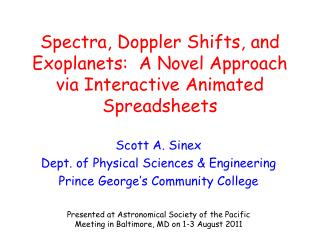 Spectra, Doppler Shifts, and Exoplanets:  A Novel Approach via Interactive Animated Spreadsheets