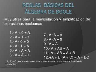 Reglas  Básicas del  Álgebra de Boole