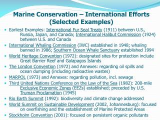 Marine Conservation – International Efforts (Selected Examples)