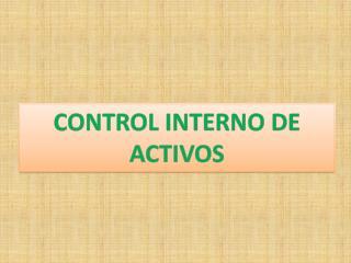 CONTROL INTERNO DE ACTIVOS