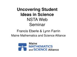 Uncovering Student  Ideas in Science NSTA Web  Seminar