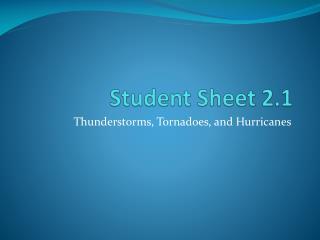 Student Sheet 2.1
