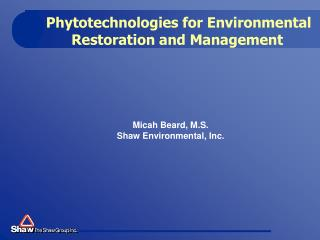 Phytotechnologies for Environmental Restoration and Management