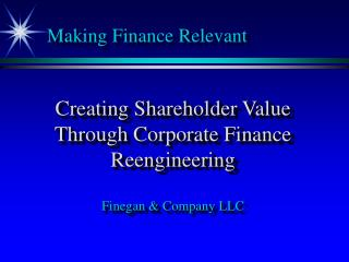 Making Finance Relevant