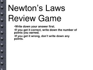 Newton's Laws Review Game