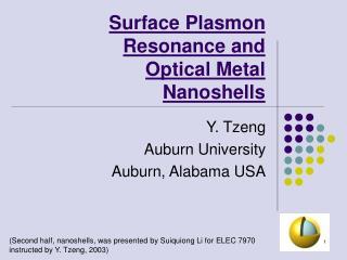 Surface Plasmon Resonance and Optical Metal Nanoshells