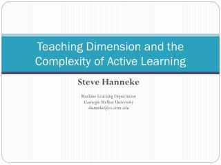 Teaching Dimension and the Complexity of Active Learning