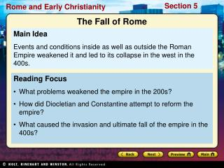 Reading Focus What problems weakened the empire in the 200s?