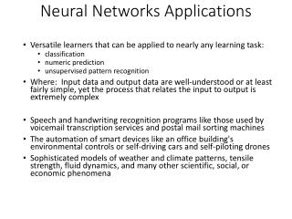 Neural Networks Applications