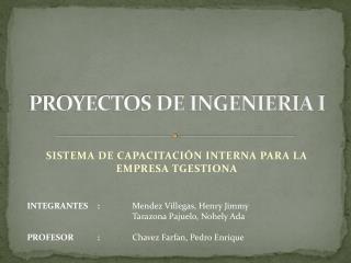 PROYECTOS DE INGENIERIA I