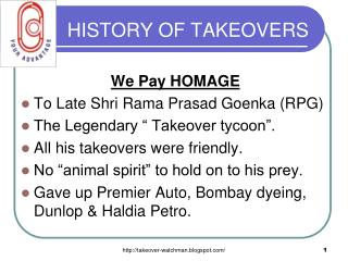 HISTORY OF TAKEOVERS