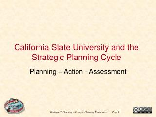 California State University and the Strategic Planning Cycle