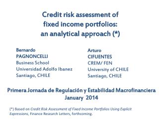 Credit risk assessment of  fixed income portfolios: an analytical approach (*)