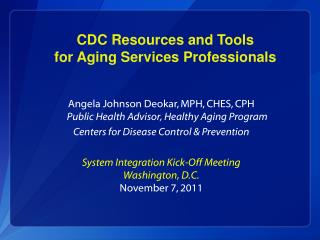 CDC Resources and Tools  for Aging Services Professionals