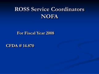 ROSS Service Coordinators NOFA