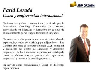 Farid  Lozada  Coach y conferencista internacional