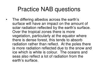 Practice NAB questions