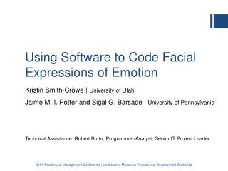 Using Software to Code Facial Expressions of Emotion
