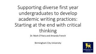 Dr.  Mark O'Hara and Amanda French  Birmingham City University
