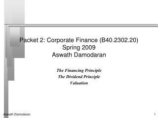 Packet 2: Corporate Finance (B40.2302.20) Spring 2009 Aswath Damodaran