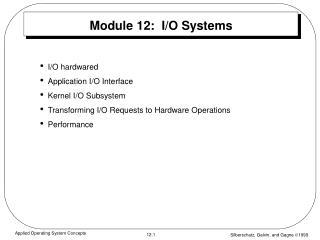 Module 12:  I/O Systems