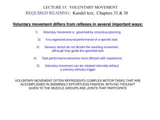 LECTURE 15:  VOLUNTARY MOVEMENT