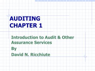 AUDITING CHAPTER 1