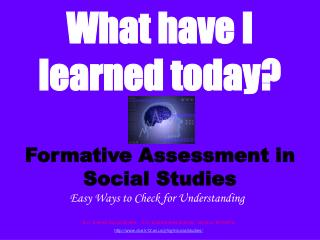 Formative Assessment in Social Studies