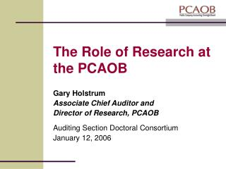 The Role of Research at the PCAOB