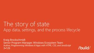 The story of state App data, settings, and the process lifecycle