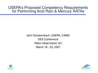 USEPA's Proposed Competency Requirements for Performing Acid Rain & Mercury RATAs