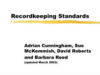 Recordkeeping Standards